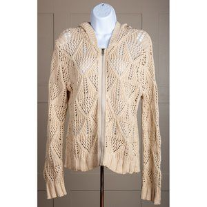 CAbi Style 759 Ivory Crocheted Zip Front Cardigan